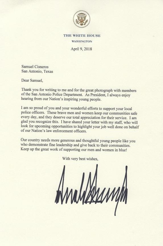 Congratulatory letter from President Trump